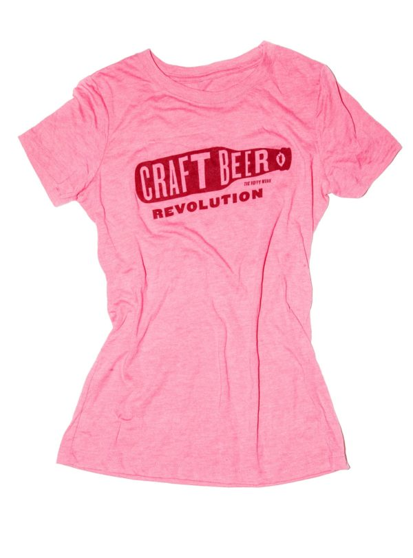 craft-beer-revolution-pink-womens-t-shirt-front-the-hoppy-monk-shop-product-image