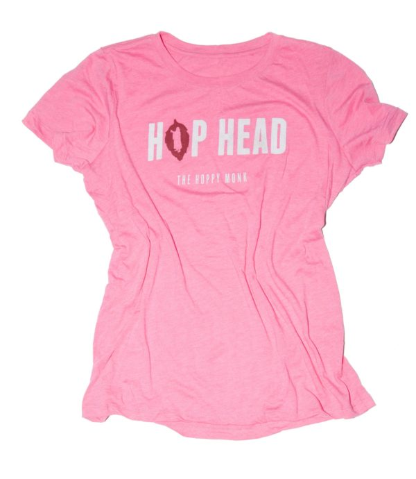 hop-head-womens-pink-t-shirt-front-the-hoppy-monk-shop-product-image